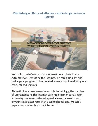IMediadesigns offers cost effective website design services in Toronto