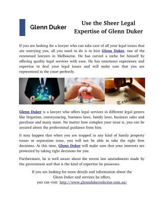Use the Sheer Legal Expertise of Glenn Duker