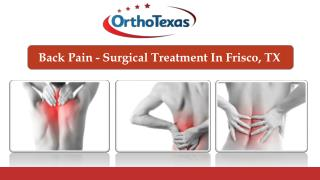 Back Pain - Surgical Treatment In Frisco, TX