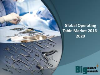 Global Operating Table Market 2016-2020