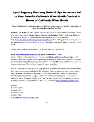 Hyatt Regency Monterey Hotel & Spa Announce tell us Your Favorite California Wine Month Contest