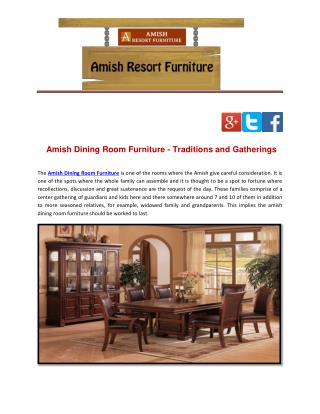 Amish Dining Room Furniture - Traditions and Gatherings