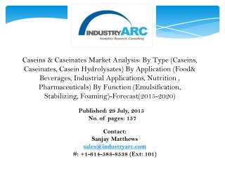 Caseins & Caseinates Market- North America continues to lead; APAC catching up fast!