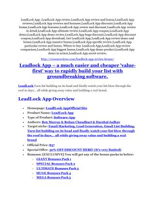 LeadLock App reviews and bonuses LeadLock App