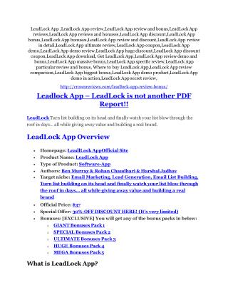 LeadLock App Review and (Free) GIANT $14,600 BONUS