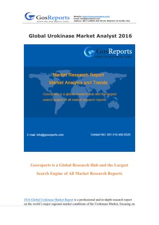 Global Urokinase Market Research Report 2016