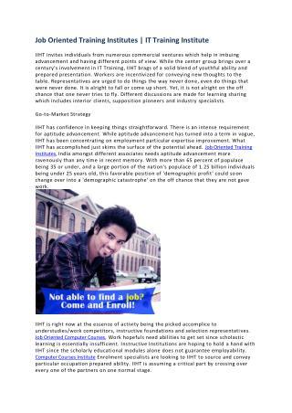 Job Oriented Training Institutes | Job Oriented Computer Courses