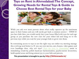 Toys on Rent in Ahmedabad: The Concept, Growing Needs for Rental Toys & Guide to Choose Best Rental Toys for your Baby