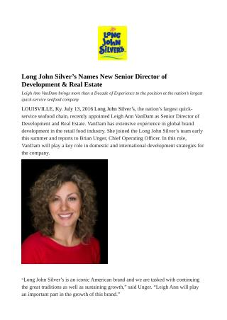 Long John Silver's Names New Senior Director of Development & Real Estate
