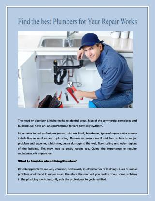 Find the best Plumbers for Your Repair Works