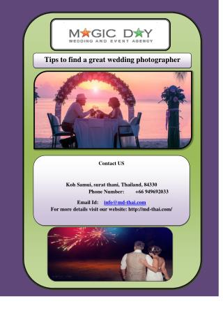 Tips to find a great wedding photographer