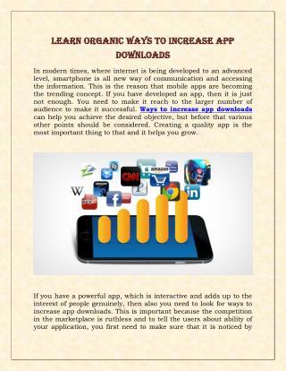 Learn organic Ways to Increase App Downloads