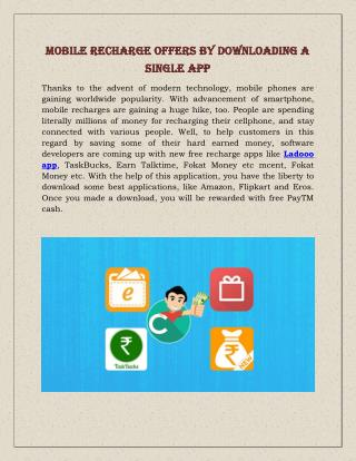 Mobile Recharge Offers By Downloading A Single App