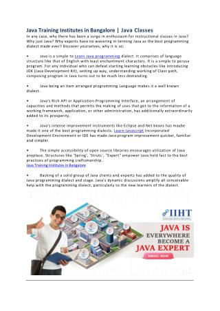 Java Training Institutes in Bangalore