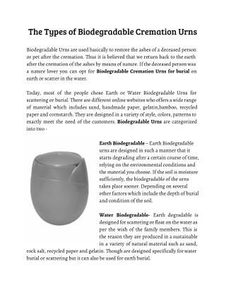 The Types of Biodegradable Cremation Urns