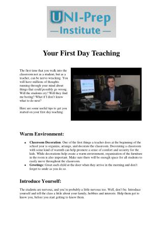Your First Day Teaching - TESOL Certification Online