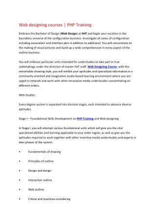 Web Designing Courses | PHP Training