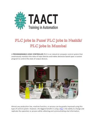 PLC jobs in Pune/ PLC jobs in Nashik/ PLC jobs in Mumbai