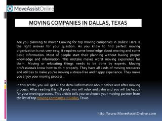 2016's Best Moving Companies in Dallas, Texas