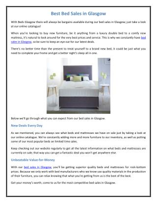 Best Bed Sales in Glasgow