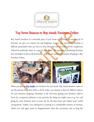 Top Seven Reasons to Buy Amish Furniture Online