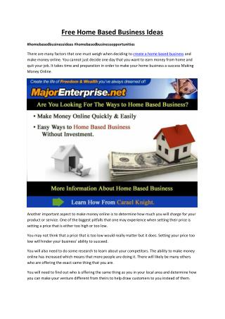 Tips for Free Home Based Business