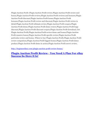 Plugin Auction Profit Review-(Free) bonus and discount