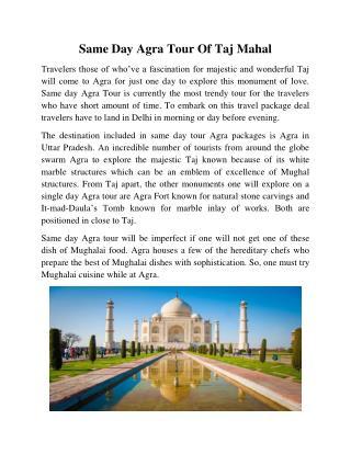 Same Day Agra Tour Of Taj Mahal