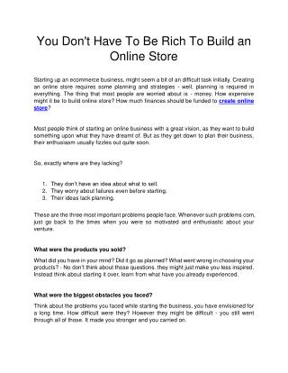 You Don't Have To Be Rich To Build an Online Store