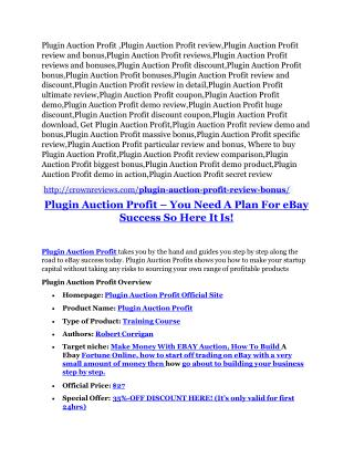 Plugin Auction Profits Review & Plugin Auction Profits $16,700 bonuses