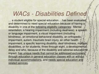 WACs - Disabilities Defined