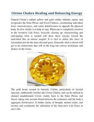 Citrine Chakra Healing and Balancing Energy