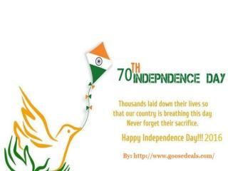 Happy 70th independence day 2016 wishes from goosedeals.com