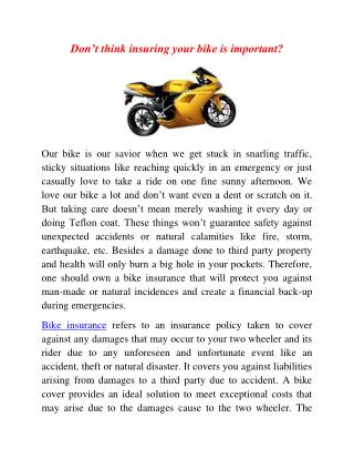 Don't think insuring your bike is important?