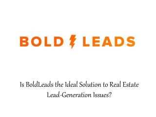 BoldLeads - Is BoldLeads the Ideal Solution to Real Estate Lead-Generation Issues?