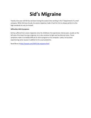 Sid's Migraine