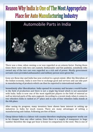 Reason Why India is One of The Most Appropriate Place for Auto Manufacturing Industry