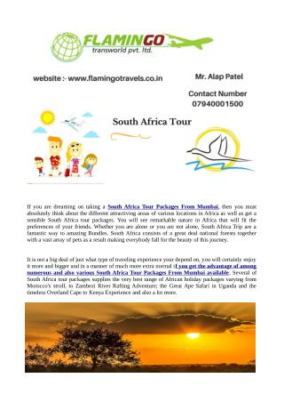 South Africa Tour Packages From Mumbai Are A fantastic way to amazing Bundles.