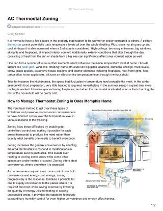 AC Thermostat Zoning