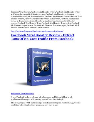 Facebook Viral Booster review & huge  100 bonus items