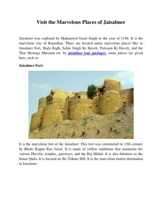 Visit the Marvelous Places of Jaisalmer