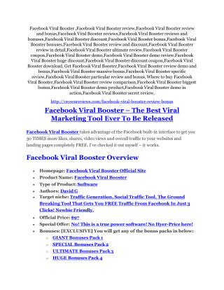 Facebook Viral Booster REVIEW & Facebook Viral Booster (SECRET) Bonuses