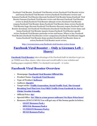 Facebook Viral Booster review & bonus - I was Shocked!