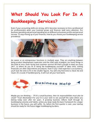 What Should You Look For In A Bookkeeping Services