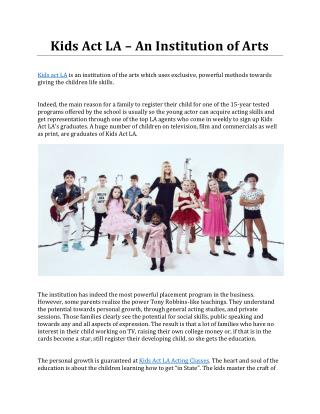 Kids Act LA – An Institution of Arts