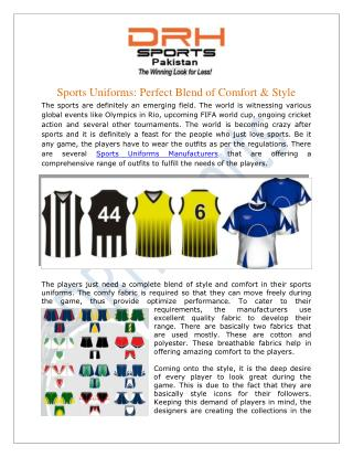 Sports Uniforms Manufacturers, Custom Sportswear Suppliers Exporters USA UK