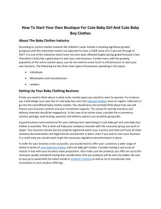How To Start Your Own Boutique For Cute Baby Girl And Cute Baby Boy Clothes