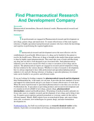 Find Pharmaceutical Research And Development Company