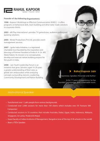 Rahulkapoor Jain - Motivational Speaker in India