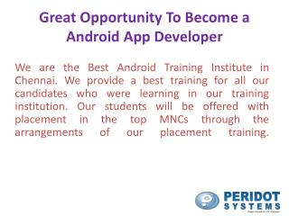 Opportunity to Learn Android Training in chennai